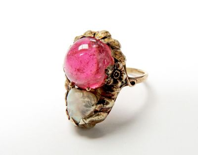 2015 ML Facets/3 Qtr/Vintage Tourmaline and Pearl Ring CFA150741 79721