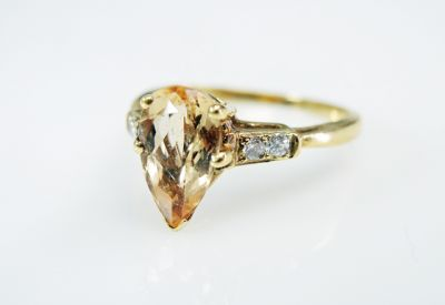 2015 ML Facets/3 Qtr/Vintage Yellow Topaz and Diamond Ring CFA1507310 79735