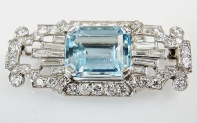 2015 ML Facets/4 Qtr/Art Deco Aquamarine and Diamond Brooch CFA150939 80103