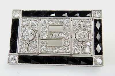 2015 ML Facets/4 Qtr/Art Deco Diamond and Onyx Brooch CFA150938 80102