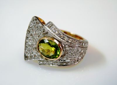 2015 ML Facets/4 Qtr/Art Deco Inspired Peridot and Diamond Ring CFA1508334 80060