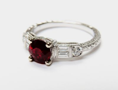 2015 ML Facets/4 Qtr/Art Deco Inspired Ruby and Diamond Engagement Ring CFA1509115 80136