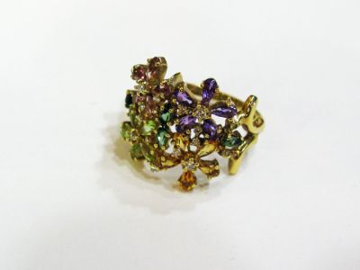 2015 ML Facets/4 Qtr/Modern Multi Gemstone Floral Ring CFA121184 69433