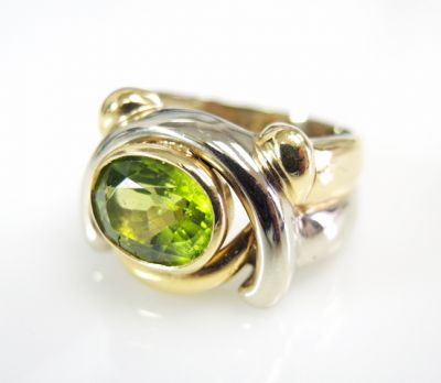 Retro Inspired Peridot Solitaire Ring