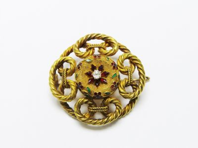 2015 ML Facets/4 Qtr/Victorian Diamond and Enamel Floral Brooch CFA1407214 78357