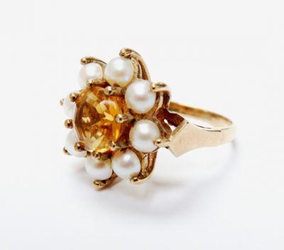 2015 ML Facets/4 Qtr/Vintage Citrine and Pearl Ring CFA1506142 79615