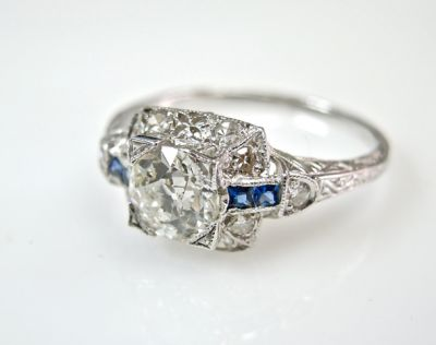 2015 ML Facets/4 Qtr/Vintage Diamond and Sapphire Ring CFA1508341 80053