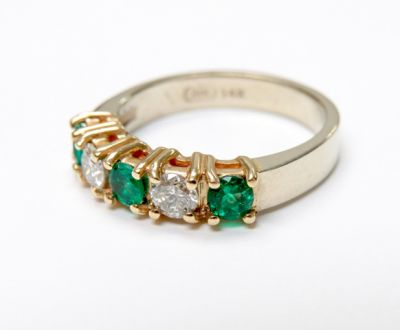 2015 ML Facets/4 Qtr/Vintage Emerald and Diamond RIng CFA1509117 80138