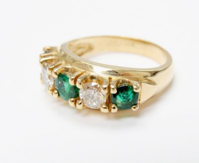 2015 ML Facets/4 Qtr/Vintage Emerald and Diamond Ring CFA1509118 80139
