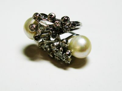 2015 ML Facets/4 Qtr/Vintage Pearl and Diamond Ring CFA1509125 80145
