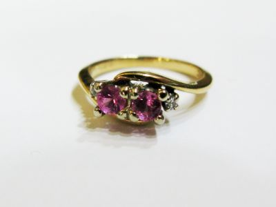 Vintage Pink Sapphire and Diamond Toi et Moi Ring