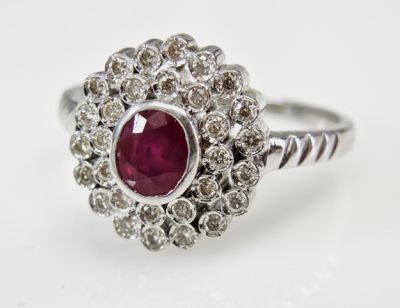 2015 ML Facets/4 Qtr/Vintage Ruby and Diamond Ring CFA150929 80093