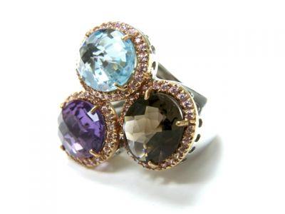 2015 ML Facets/Amethyst Topaz Quartz Sapphire Ring CFA1501137 79063
