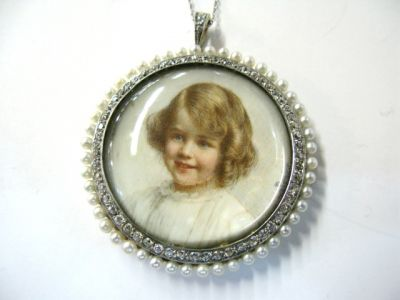 Antique Ryrie Pearl and Diamond Portrait Pendant with chain