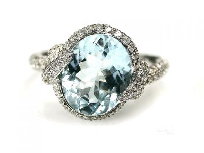 2015 ML Facets/Aquamarine and Diamond Modern Ring CFA1209254 68998