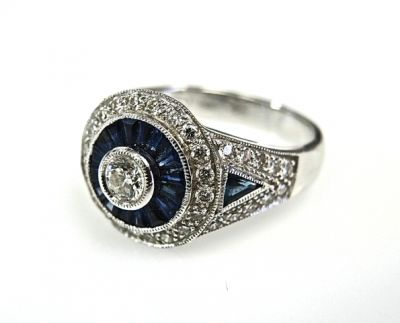 Diamond and Sapphire Art Deco Style Ring