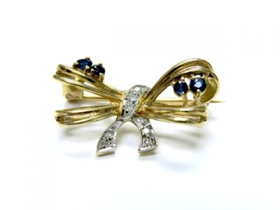 Diamond and Sapphire Bow Brooch