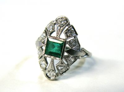 2015 ML Facets/Emerald and Diamond Art Deco Ring CFA1503178 79281