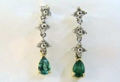 2015 ML Facets/Emerald and Diamond Drop Earrings CFA120587 67595