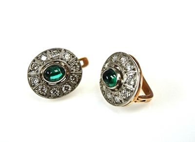 2015 ML Facets/Emerald and Diamond Earrings CFA1408144 78540