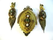 Emerald and Pearl Victorian Brooch Earrings Set
