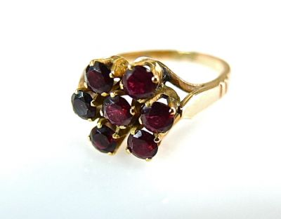 2015 ML Facets/Garnet Floral Cluster Ring CFA1405248 77912