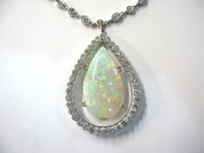 Vintage Opal and Diamond Pendant Necklace