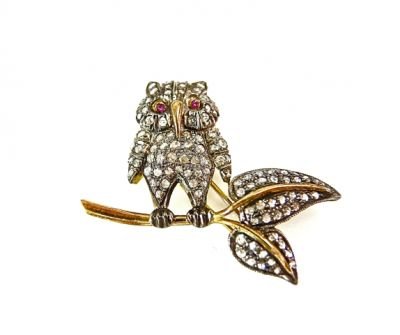 2015 ML Facets/Ruby and Diamond Owl Brooch CFA1402129C 74797