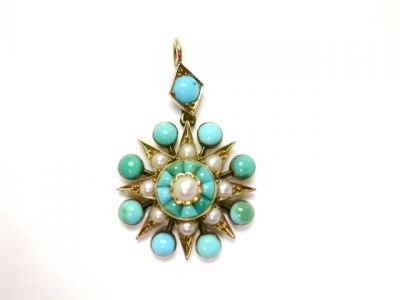 2015 ML Facets/Seed Pearl Turquoise Pendant CFA1406223 78143