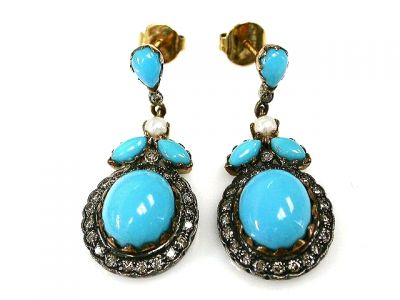 2015 ML Facets/Turquoise Pearl Diamond Earrings CFA120629C 67942
