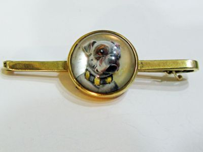 Essex Crystal Reverse Intaglio Bulldog Brooch