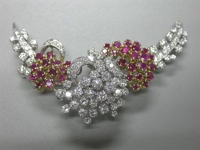 64539/Ruby and Diamond Floral Brooch CFA090576