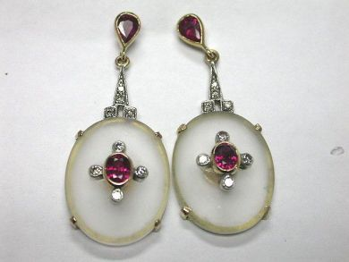 64600-64650/Roch Crystal Ruby Earrings CFA0902105