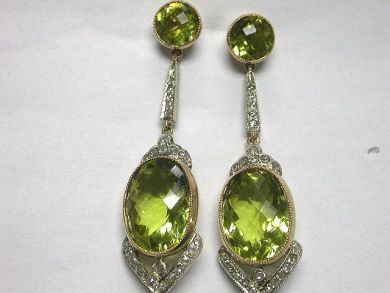 64600-64650/Victorian Style Lemon Quartz Earrings CFA090296