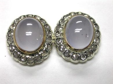 Classic Chalcedony and Diamond Earrings