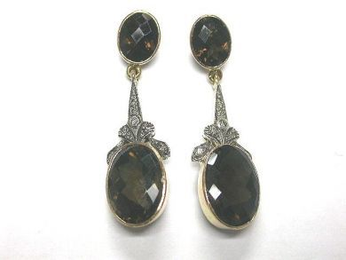 Victorian Style Smokey Quartz Earrings
