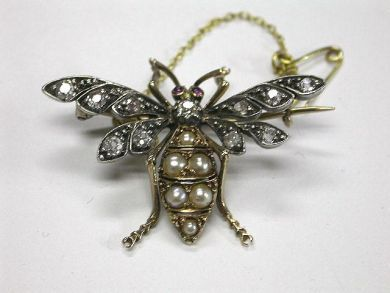 Antique Diamond Bee Brooch