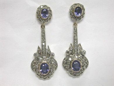 64796-64846/Charming sapphire drop earrings CFA1005100