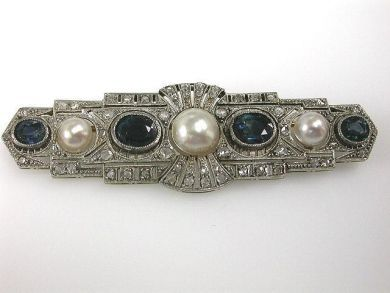 Art Deco Sapphire and Pearl Brooch