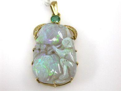 64942-64999/Vintage Opal Pendant CFA101236