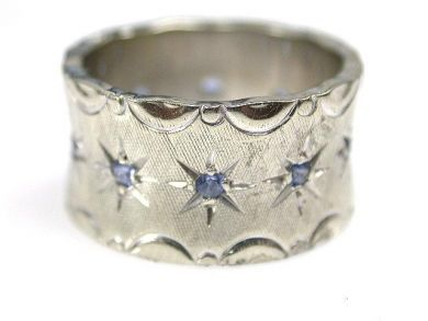 6500-65044/White Gold and Sapphire Band-Cynthia Findlay Antiques-CFA1012114