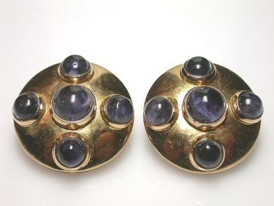 65168-November/Iolite and Gold Earrings Cynthia Findlay Antiques CFA1104125