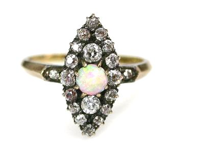 Victorian Opal and Diamond Navette Ring