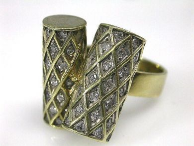 6600-November/Double Cyllinder Diamond Ring Cynthia Findlay Antiques CFA1110127
