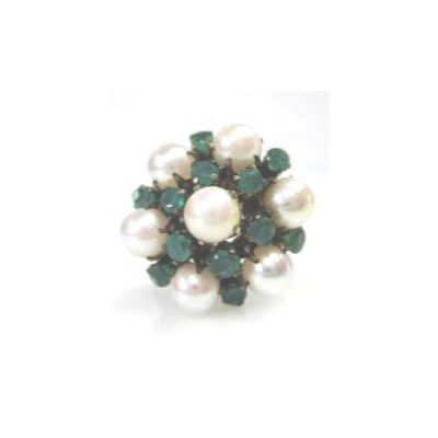 Pearl and Chrysoprase Cluster Ring