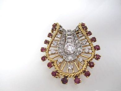 6600-November/Retro Ruby and Diamond Brooch Cynthia Findlay Antiques CFA1110112