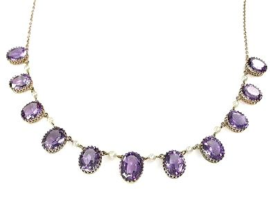 Birks Antique Amethyst and Pearl Necklace