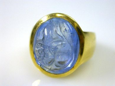 66027-December/Carved Aquamarine Ring Cynthia Findlay Antiques CFA1111204