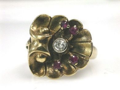 66395-January/Retro Floral Ring Cynthia Findlay Antiques CFA1112148