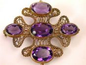 Amethyst Filigree Brooch